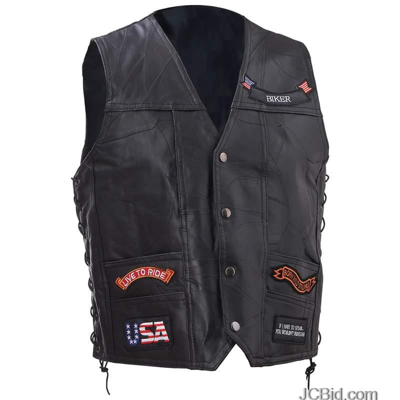 JCBid.com LEATHER-VEST-WITH-11PATCHES-2X