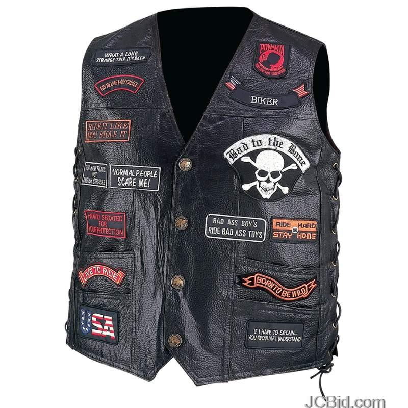 JCBid.com LEATHER-BIKER-VEST-23-PATCHES