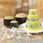 JCBid.com online auction Mini-tiered-cake-baking-set-3-pans-7-decorating-tips-1-plunger