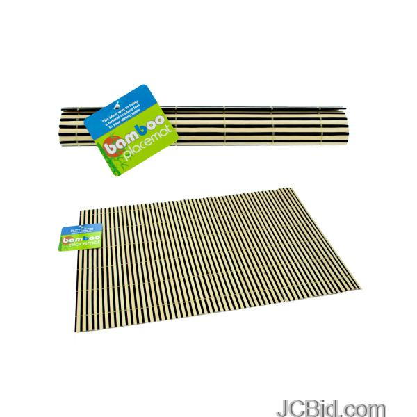 JCBid.com Striped-Bamboo-Placemat-display-Case-of-96-pieces