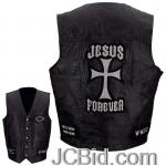 JCBid.com online auction Lthr-vest-wchristian-patch-3x