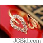 JCBid.com online auction Beautiful-two-leaf-ring-adjustable-golden