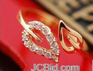 JCBid.com Beautiful-Two-Leaf-Ring-Adjustable-Golden