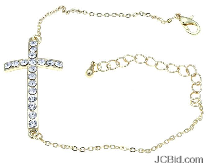 JCBid.com Cross-Link-Chain-Crystal-Stone-Bracelet