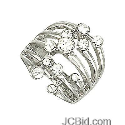 JCBid.com Shiny-Crystal-Silver-Tone-Ring-Size-7