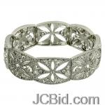 JCBid.com online auction Crystals-with-filigree-stretch-bracelet-silver-tone-