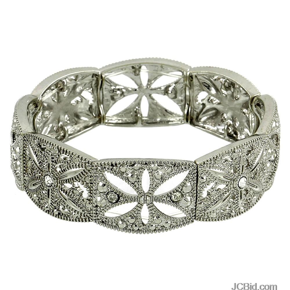 JCBid.com Crystals-with-filigree-Stretch-Bracelet-Silver-Tone-
