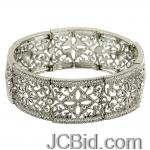 JCBid.com online auction -beautiful-filigree-stretch-bracelet-silver-tone-with-crystals