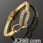 JCBid.com online auction Heart-crystal-gold-tone-bracelet