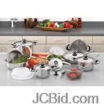 JCBid.com online auction 22pc-ss-cookware-set-chefrsquos-secret-22pc-12-element-super-set-with-surgical-stainless-steel
