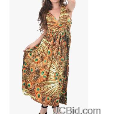 JCBid.com Peacock-print-maxi-dress-in-Yellow-color