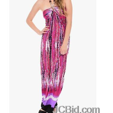 JCBid.com Printed-Maxi-Dress-in-Pink-color