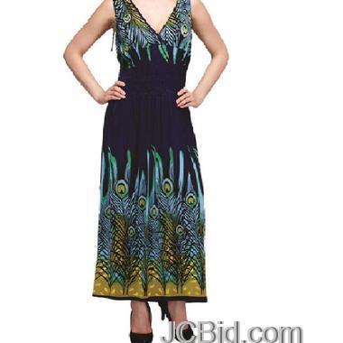 JCBid.com Blue-Peacock-Print-Maxi-Dress