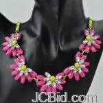 JCBid.com online auction Hot-pink-flower-necklace-with-earrings