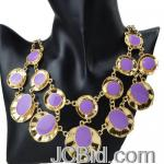 JCBid.com online auction 2-layer-fancy-purple-enamel-bubble-bib-statement-necklace