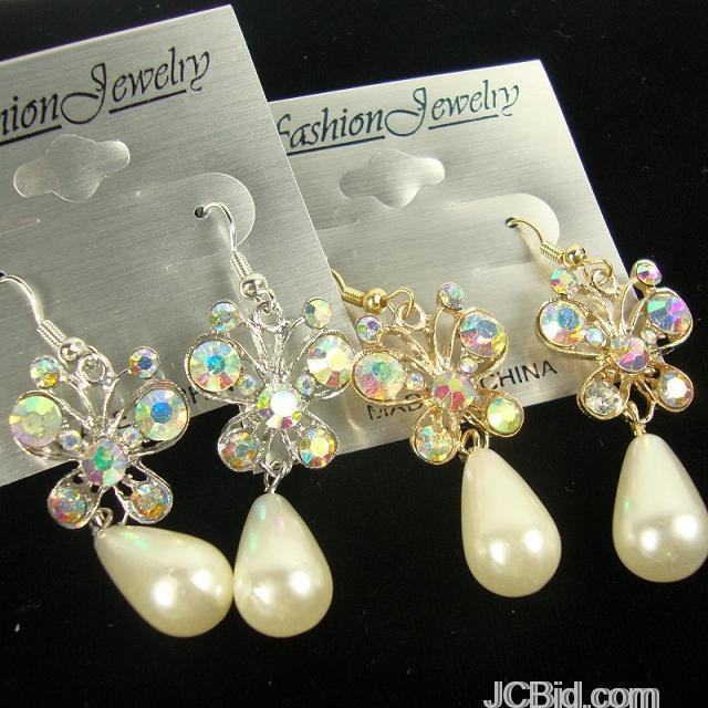 JCBid.com Butterfly-Crystal-Stone-Pearl-Drop-earriings-in-Silver-or-Gold-tone