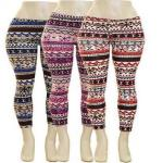 JCBid.com online auction Plus-size-snowflake-print-striped-legging