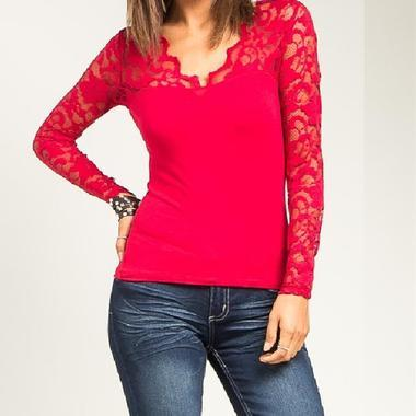 JCBid.com Lace-Covered-Top-in-Red-color