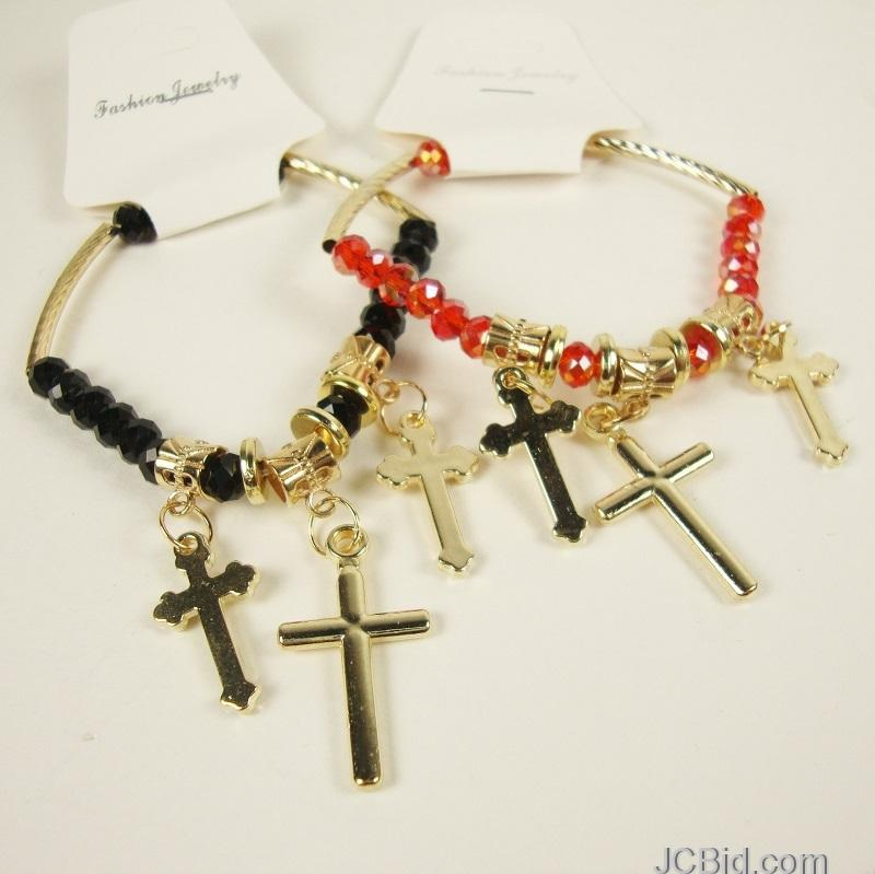 JCBid.com Multiple-Cross-Charms-Beaded-Bracelet