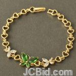 JCBid.com online auction Stunning-green-butterfly-crystals-amp-heart-bracelet