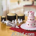 JCBid.com online auction Mini-tiered-cake-baking-set-3-pans-7-decorating-tips-amp-1-plunger
