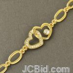 JCBid.com online auction Double-heart-gold-tone-bracelet