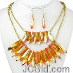 JCBid.com online auction Pretty-necklace-set-in-white-crystals-and-golden-beads-