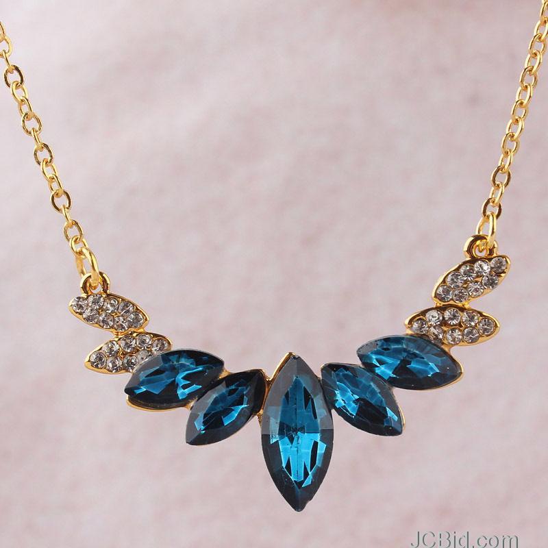 JCBid.com Blue-Crystal-Pendant-Necklace