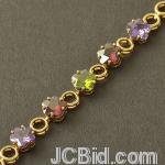 JCBid.com online auction Stunning-colored-flower-shaped-crystals-bracelet