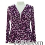 JCBid.com online auction Pretty-animal-print-embellished-neckline-top