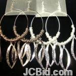 JCBid.com online auction Hoop-earring-with-frosted-dangle-silver-or-black
