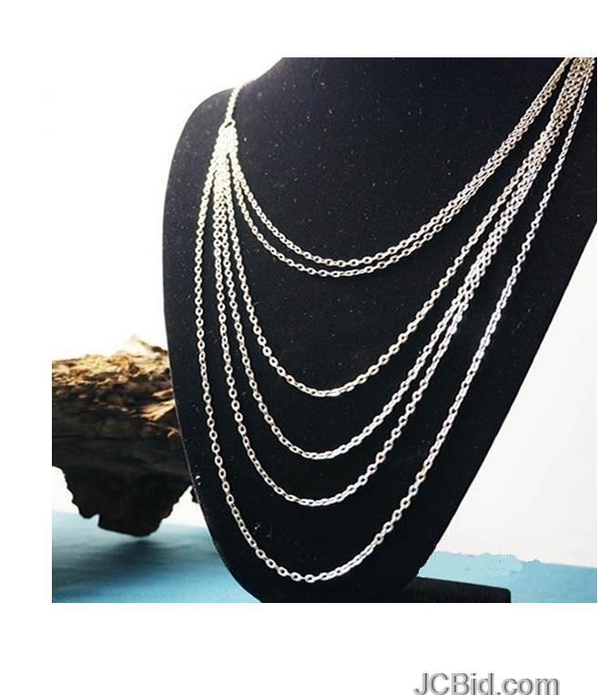 JCBid.com Multi-Layer-Silver-Necklace-for-Women