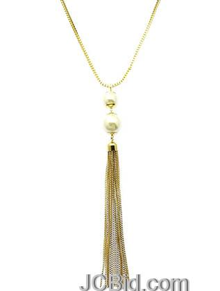 JCBid.com Tassle-Metal-Chain-Necklace-Gold