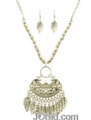 JCBid.com Silver-tone-Native-Indian-Inspired-Metal-necklace