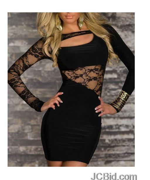 JCBid.com Lace-inserted-dress-Black