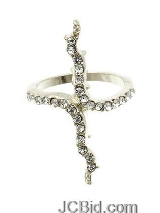 JCBid.com Branch-shaped-ring-in-Silver-tone