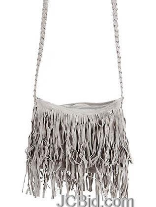 JCBid.com Grey-Fringe-Shoulder-Bag