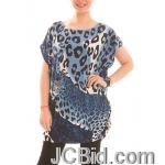 JCBid.com Loose-Top-with-Leopard-Print-Blue