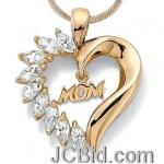 JCBid.com online auction Mom-crystal-heart-pendent-necklace-in-gold-tone