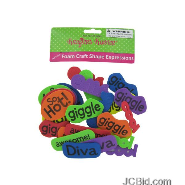 JCBid.com Foam-Word-Expressions-Craft-Sticker-Shapes-display-Case-of-120-pieces