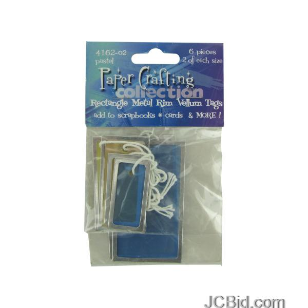 JCBid.com Pastel-Rectangle-Vellum-Tags-with-Metal-Rims-display-Case-of-180-pieces