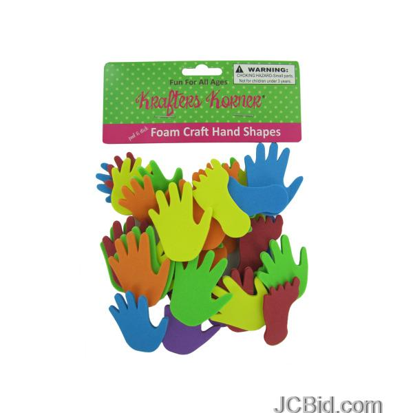 JCBid.com Foam-Hand-and-Feet-Craft-Sticker-Shapes-display-Case-of-120-pieces
