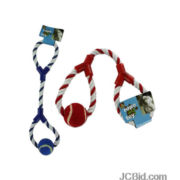 JCBid.com Dog-Rope-Toy-with-Tennis-Ball-display-Case-of-48-pieces
