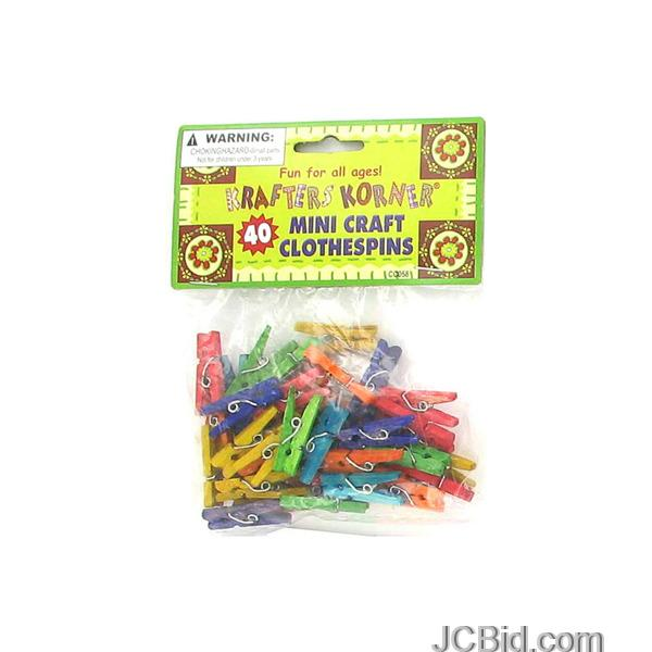 JCBid.com Miniature-Colored-Craft-Clothespins-display-Case-of-84-pieces