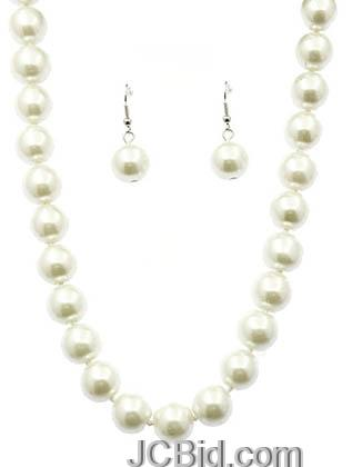 JCBid.com White-Colored-16-Long-Pearl-Necklace-set