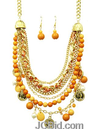 JCBid.com Orange-beads-and-Pearls-multi-layered-necklace-set
