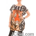 JCBid.com Loose-Top-with-Tiger-Print-Brown