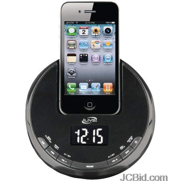 ilive icp101b iphone am fm alarm clock radio sphere with dock jcbid. Black Bedroom Furniture Sets. Home Design Ideas