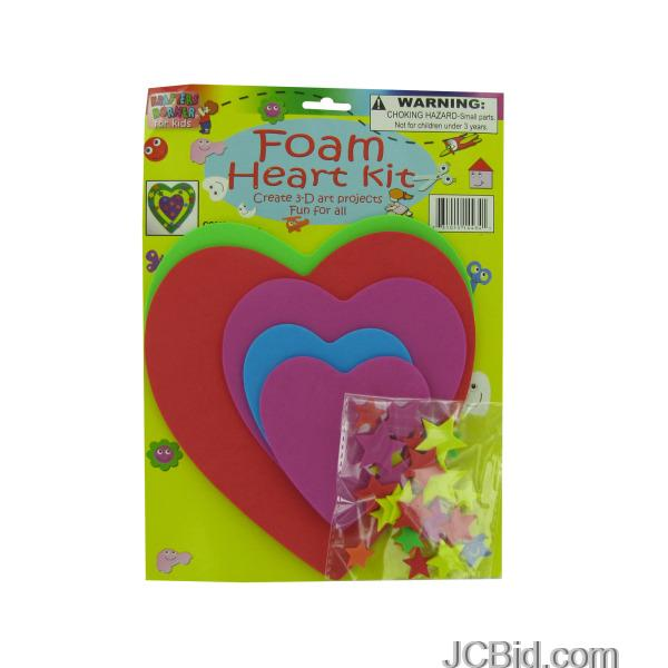 JCBid.com Do-It-Yourself-Foam-Heart-Craft-Kit-display-Case-of-120-pieces
