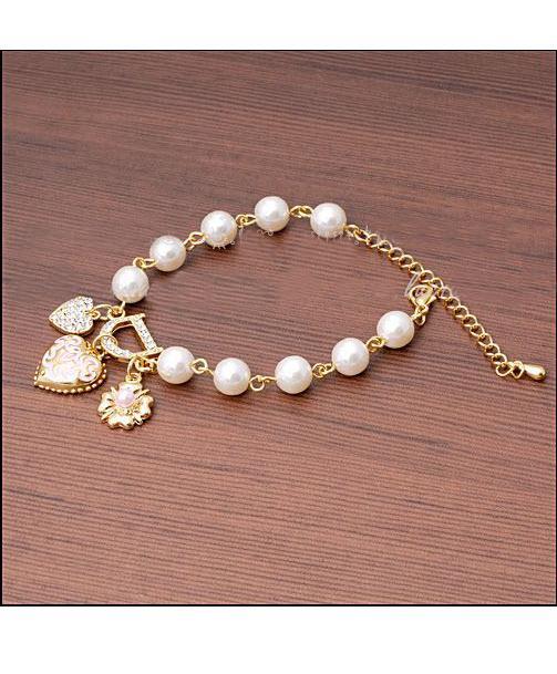 JCBid.com 3-heart-bracelet-with-D-Letter-charm
